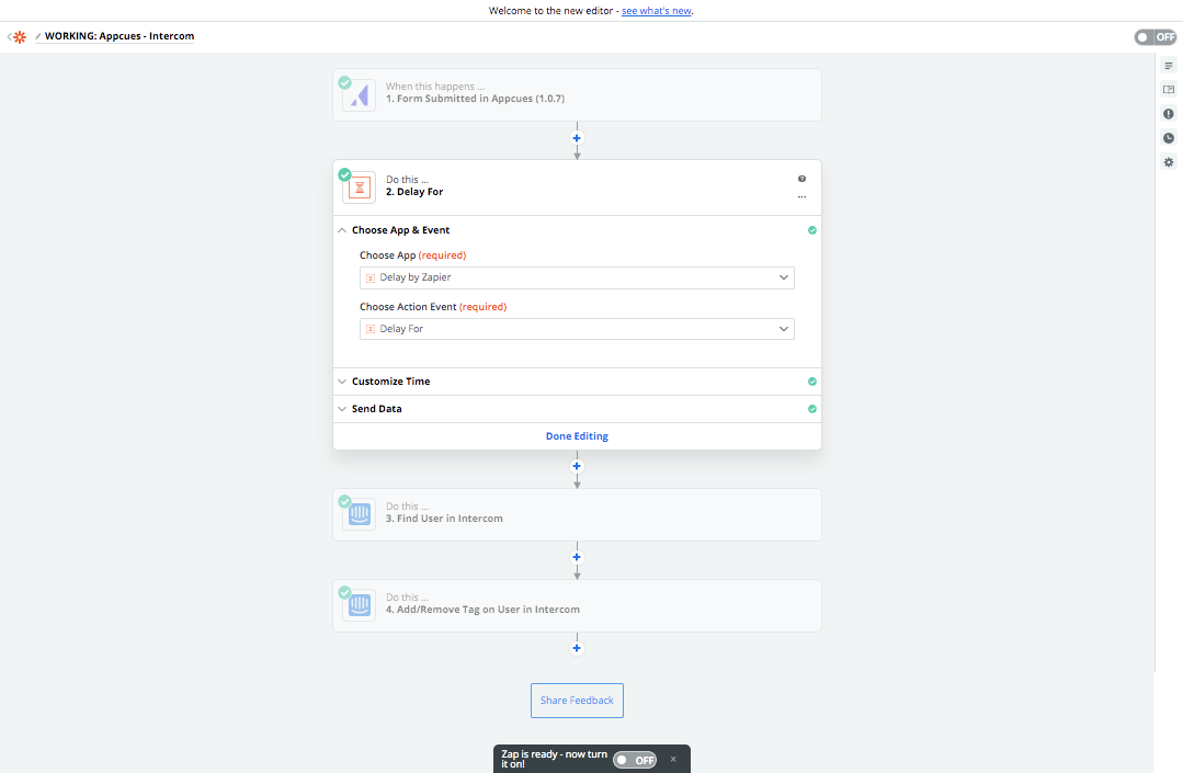 Appcues Zapier integration delay step setup