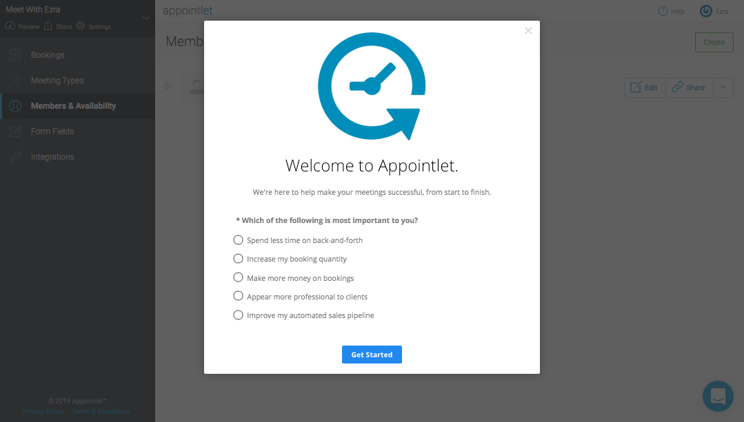 appointlet modal ith customer feedback survey made with appcues