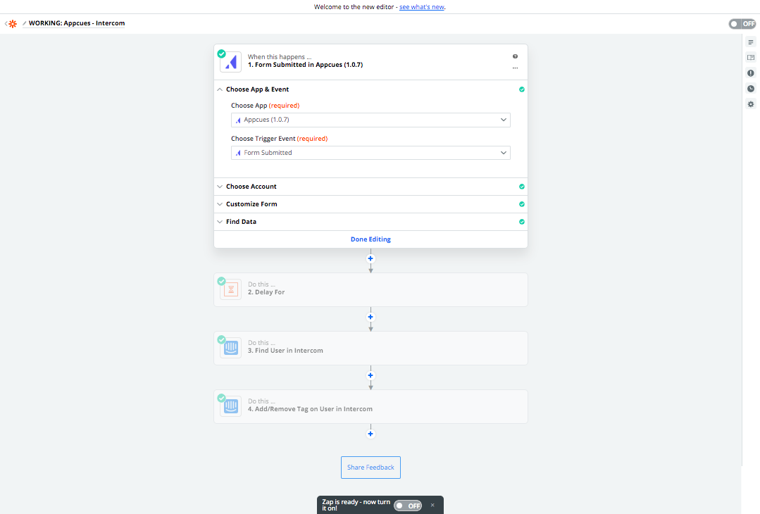 Appcues Zapier integration trigger event setup