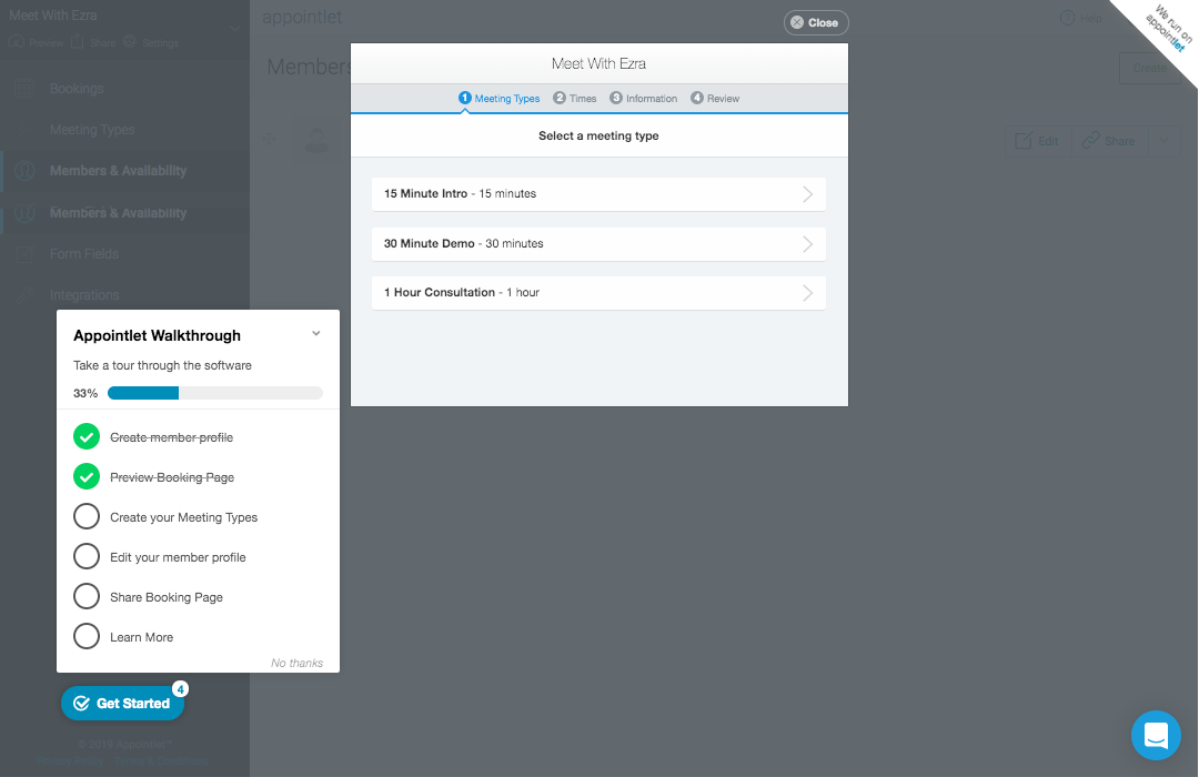 Appcues modal with progress bar and user onboarding checklist
