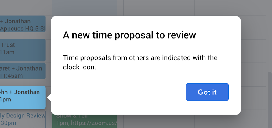 google calendar feature announcement tooltip new time proposal icon