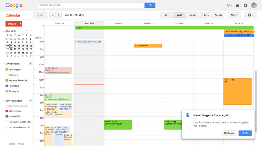 google calendar new feature 2016 reminders feature introduction tour popup
