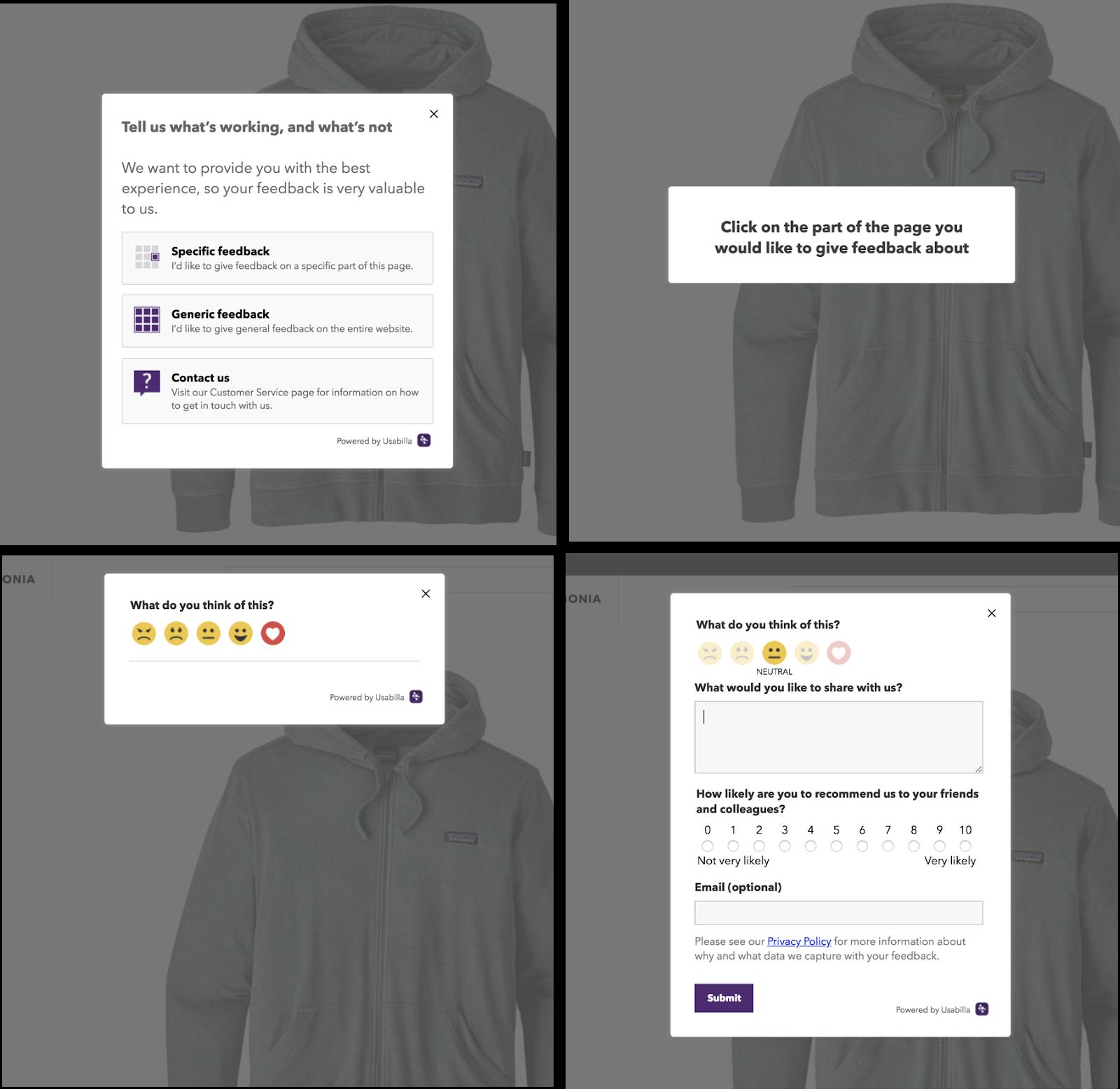 patagonia retail consumer feedback popup
