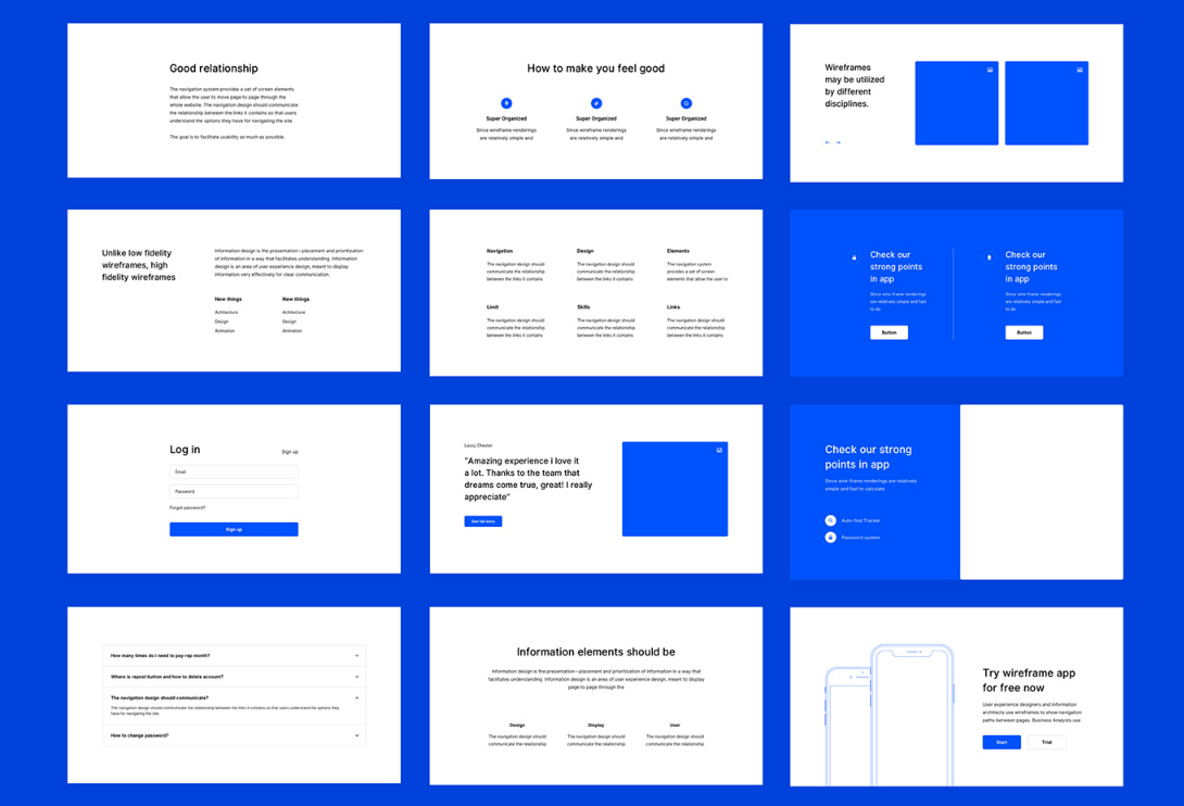 ready made ui wireframe pack for prototyping