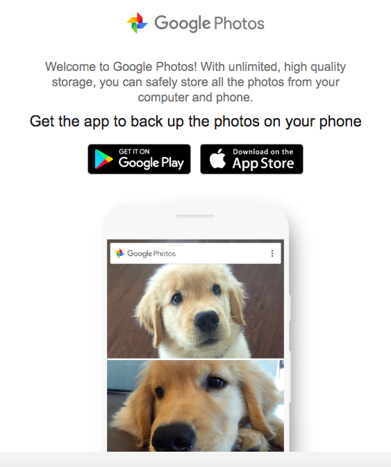 google photos cross platform promotion prompt to download google mobile apps