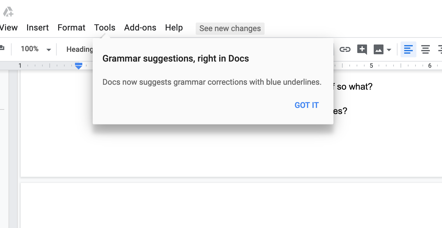 google docs tooltip pointing out grammar suggestions to improve feature awareness as part of google's heart framework