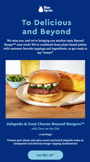 blue apron email for lapsed users letting them know what's new