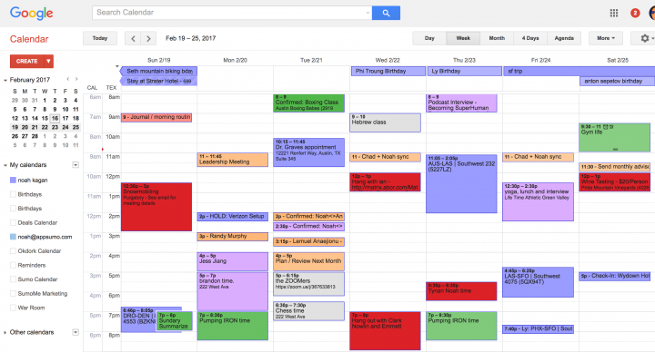 time management google calendar how to organize for product managers