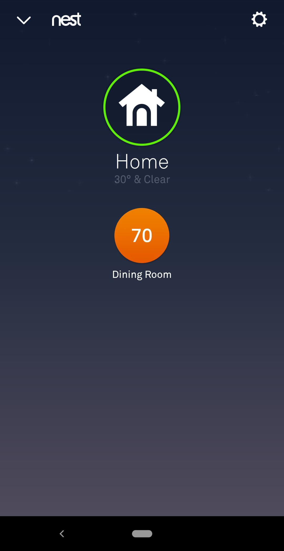 nest mobile app temperature setting button
