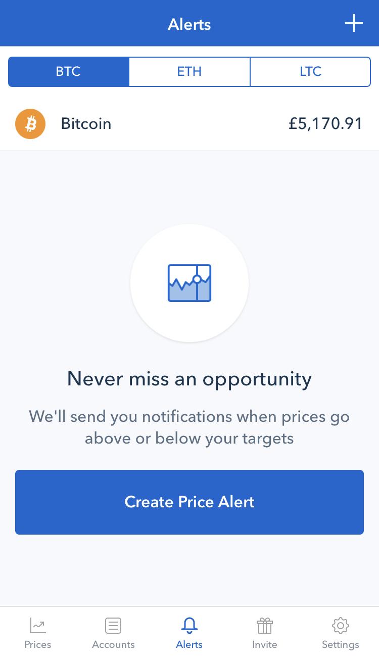 coinbase mobile app price alert