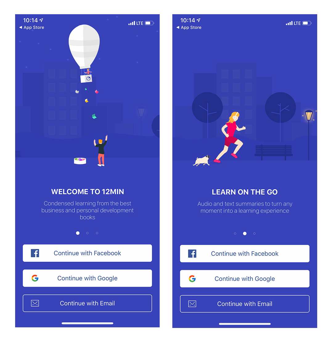 12min mobile app onboarding intro screens