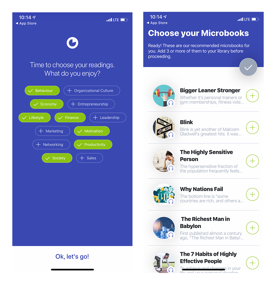 mobile app onboarding welcome screens signup flow with personalizing questions