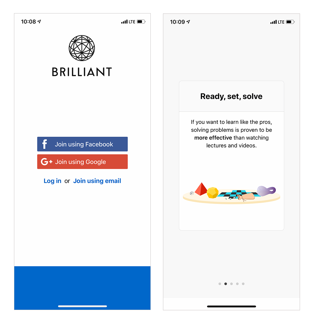 brilliant app mobile onboarding intro screens