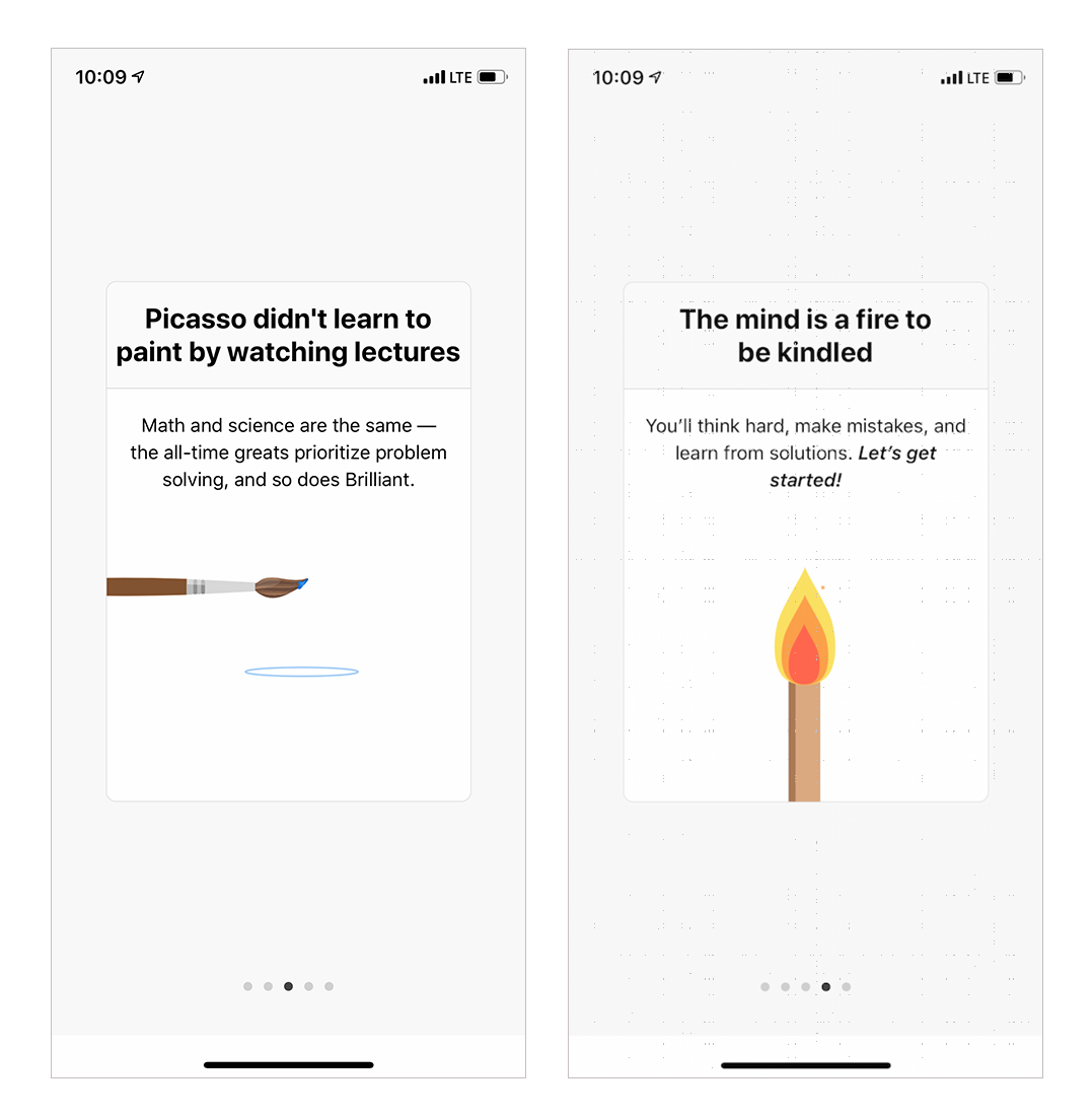 brilliant app mobile onboarding intro modal screens