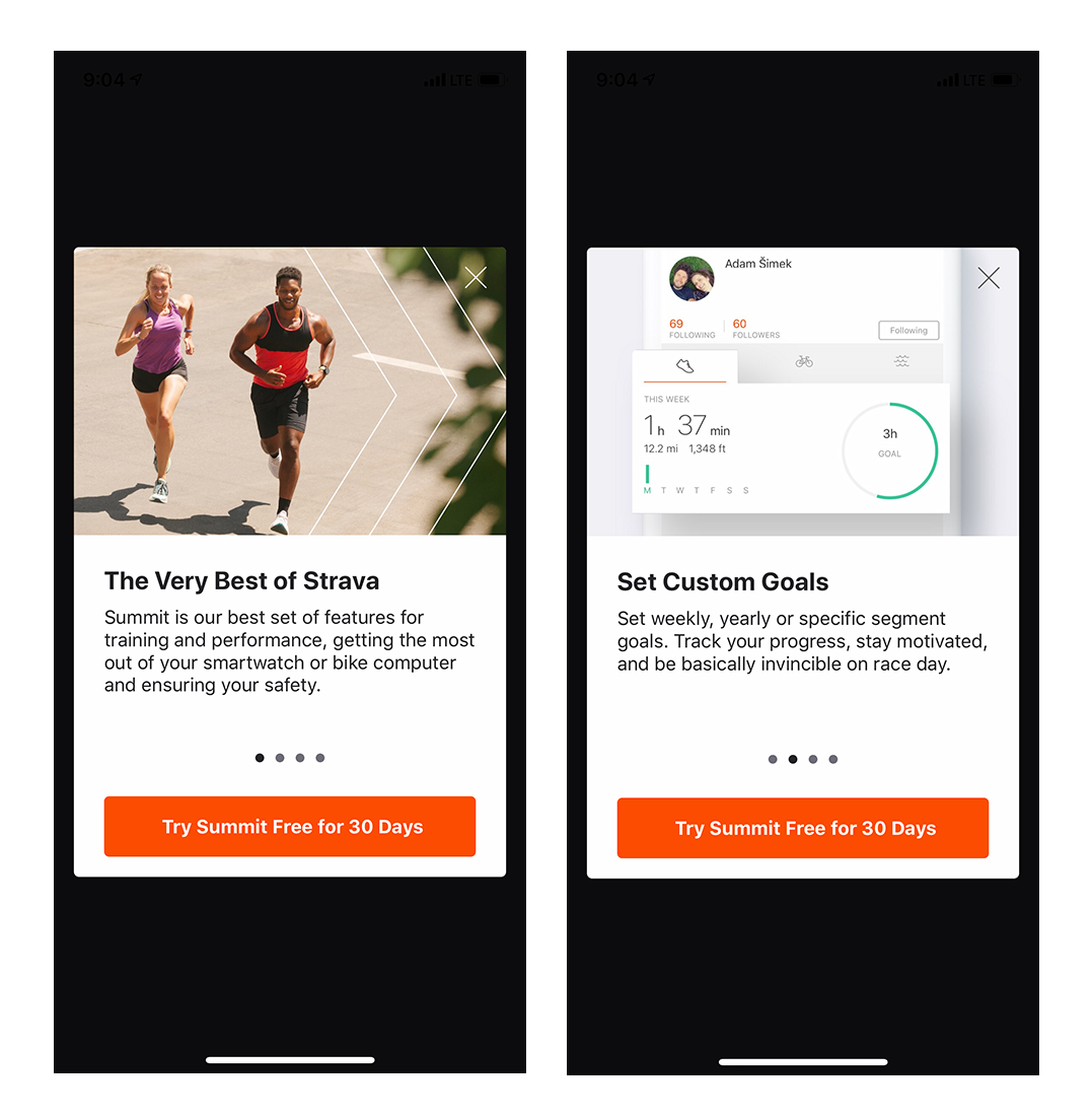 strava running cycling app mobile onboarding intro screens