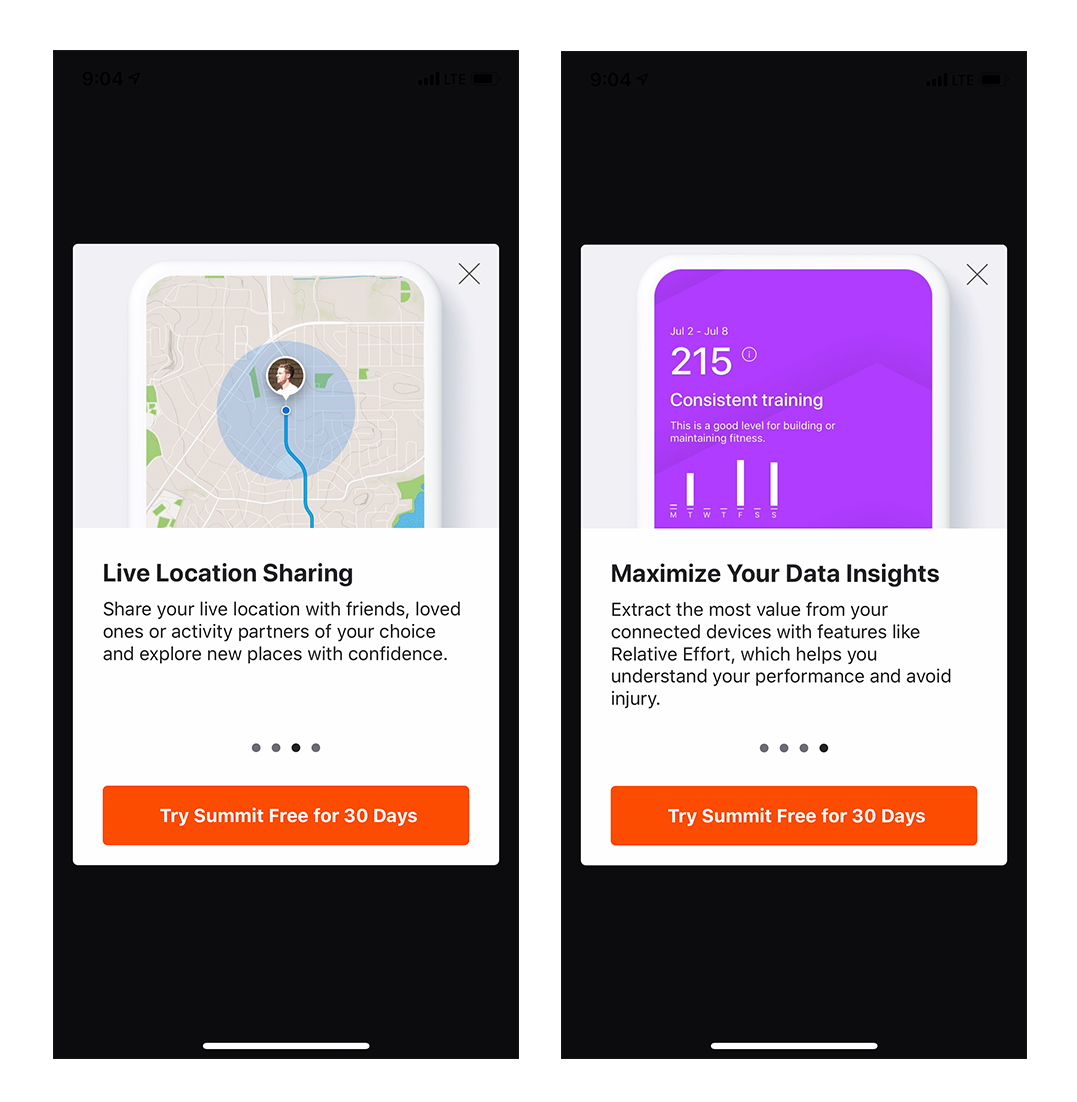 strava running cycling app mobile onboarding intro screens 2