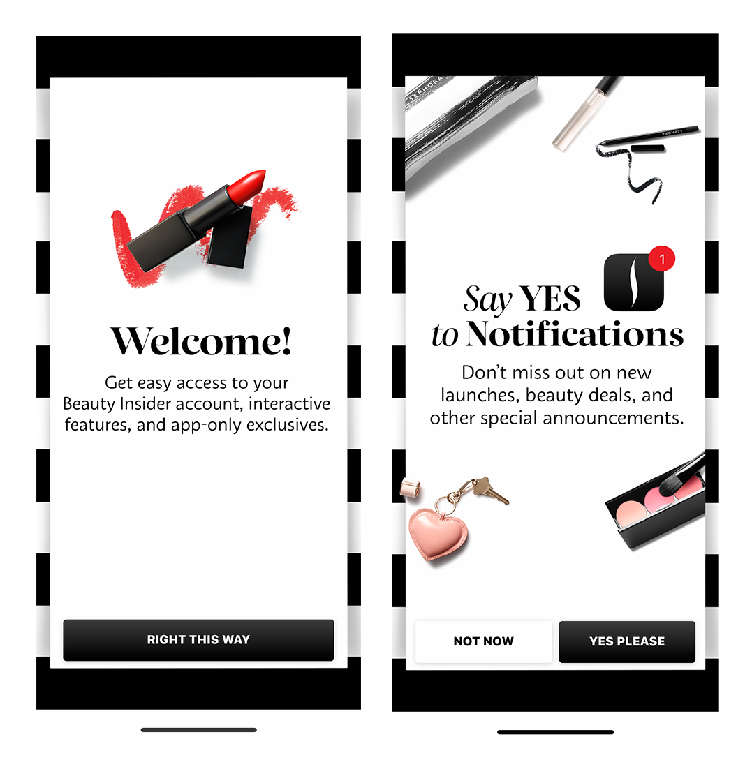sephora app mobile onboarding intro screens notification permissions