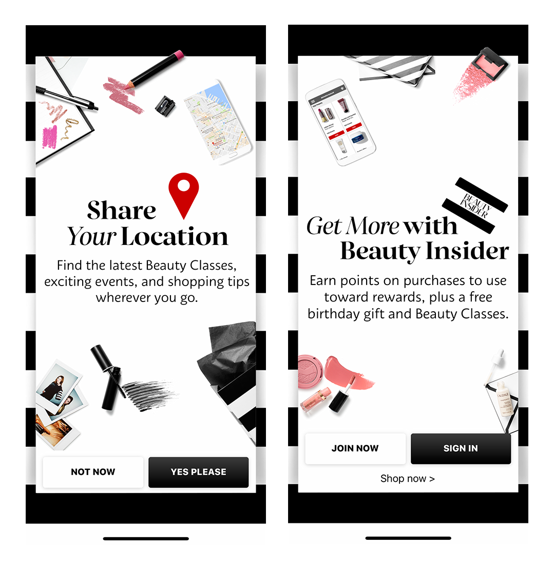sephora app mobile onboarding intro screens share location
