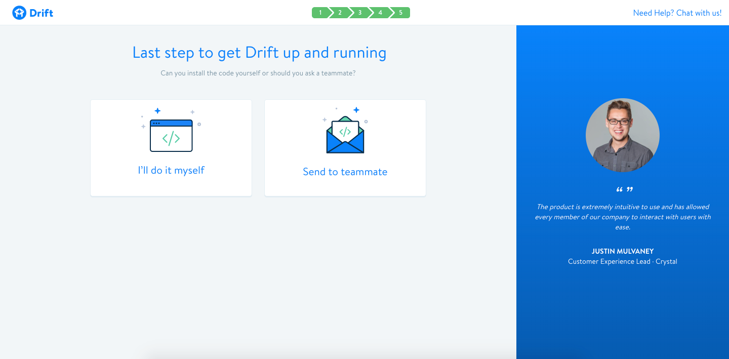 drift customization user onboarding final step installation
