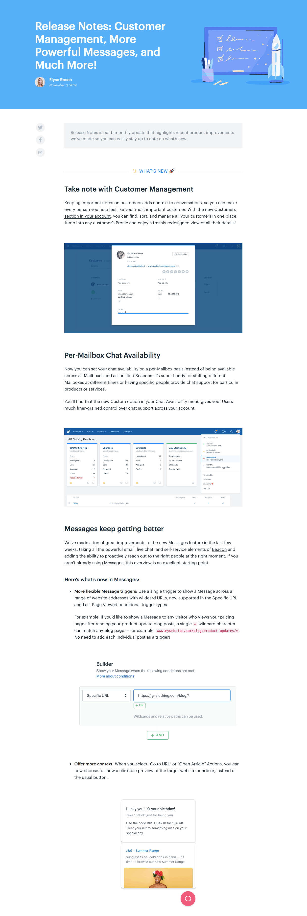 product release notes monthly roundup example from help scout's blog