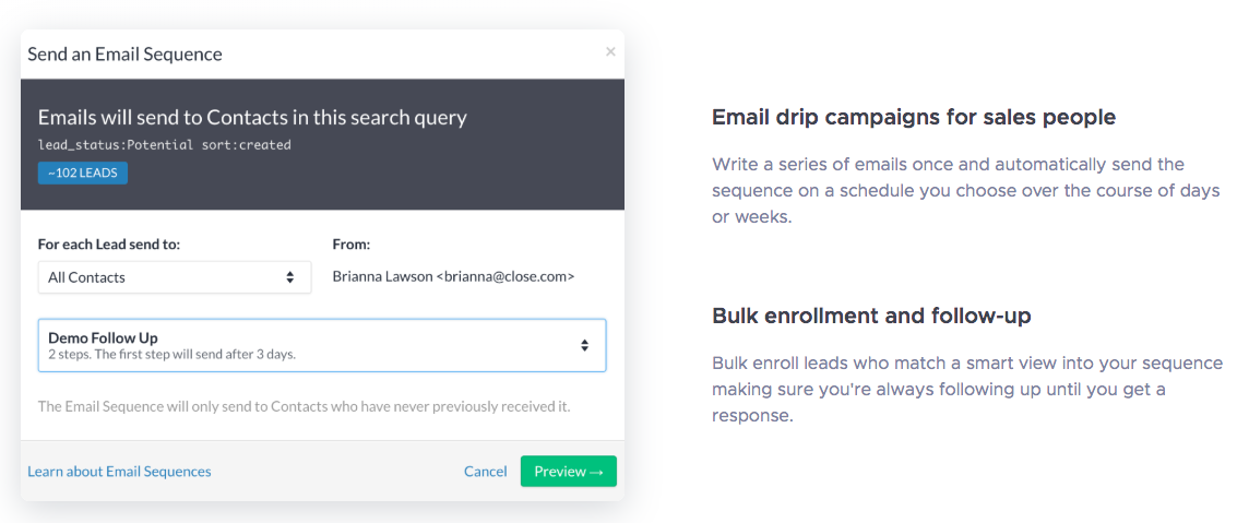 close email drip outreach campaigns for sales