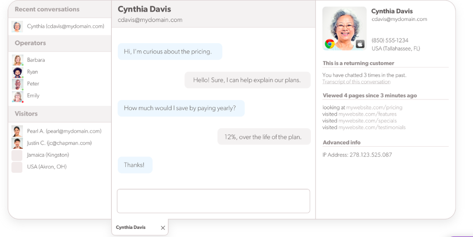 olark customer support chat tool
