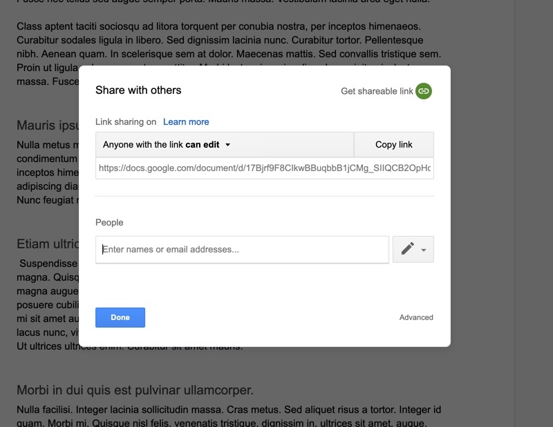 google docs share with others link sharing popup modal