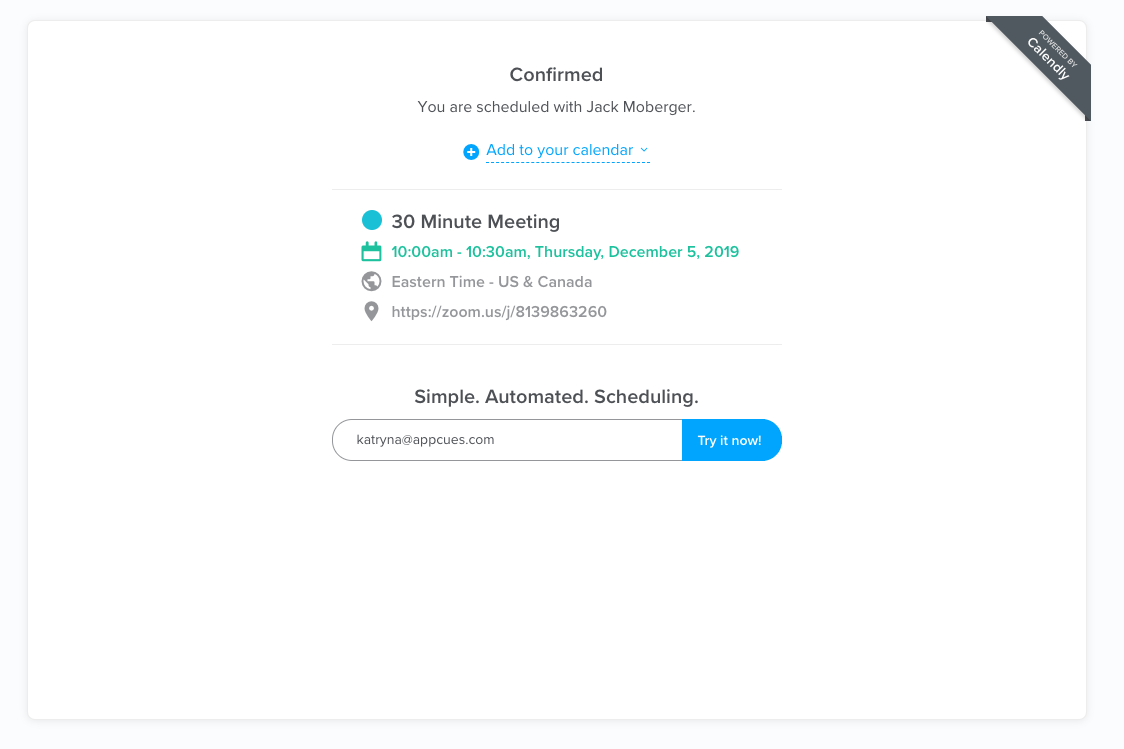 calendly scheduled meeting confirmation