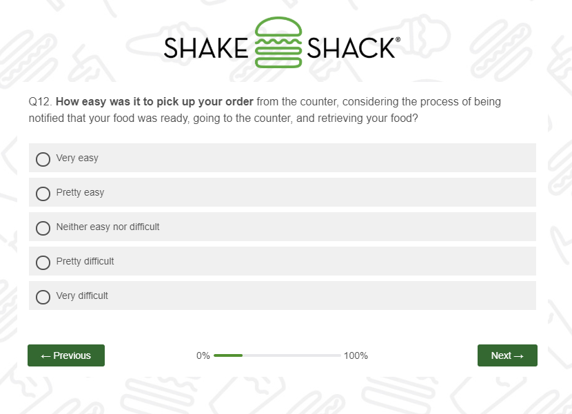 shake shack ease of pickup survey