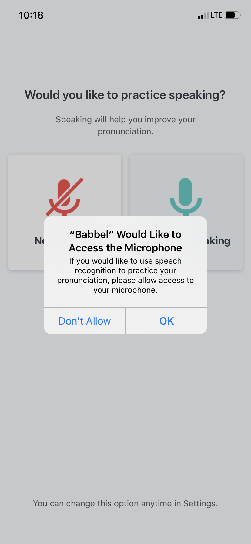 babbel microphone access permission priming pop up