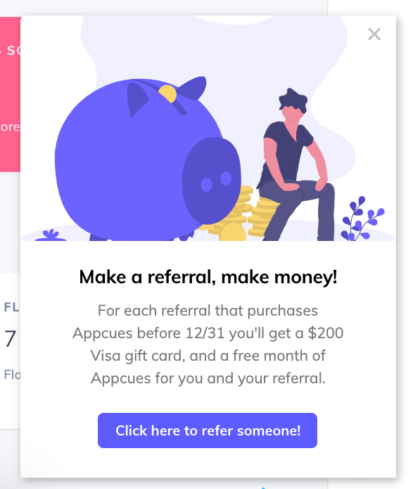 customer referral in-app campaign made with appcues