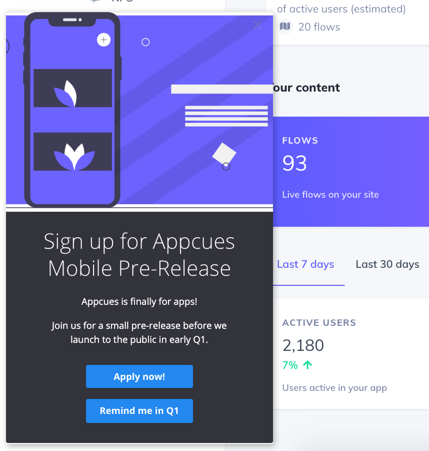 mobile beta pre release announcement signup prompt slideout