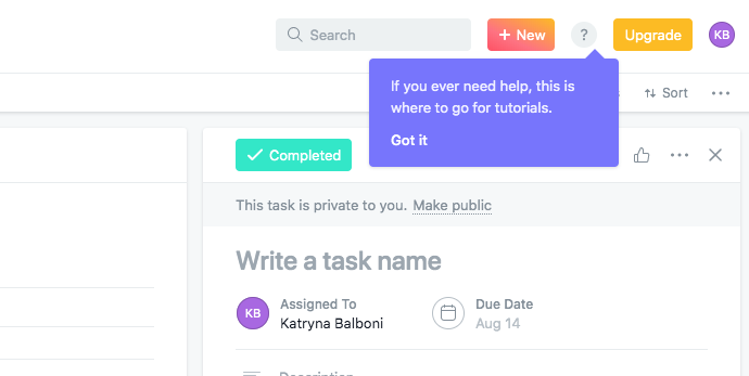 "asana help icon tooltip with ""got it"" cta"