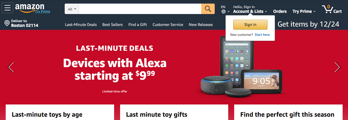 amazon sign in prompt ux example tooltip