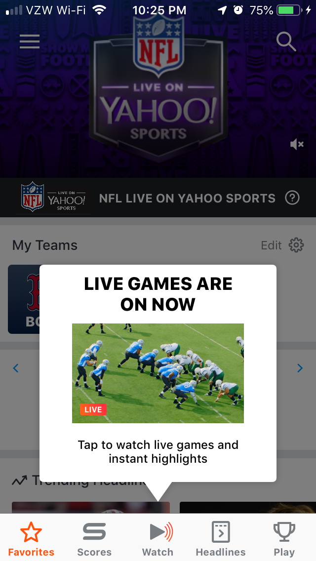 yahoo sports mobile app sticky feature tooltip