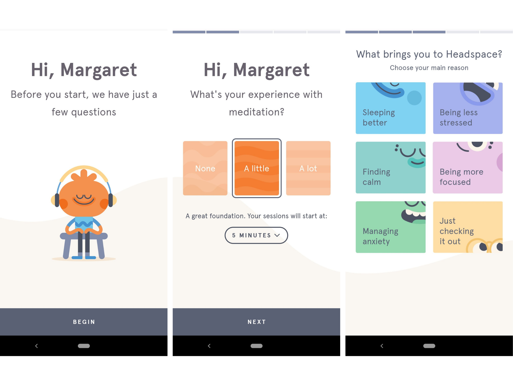 headspace mobile app user onboarding example