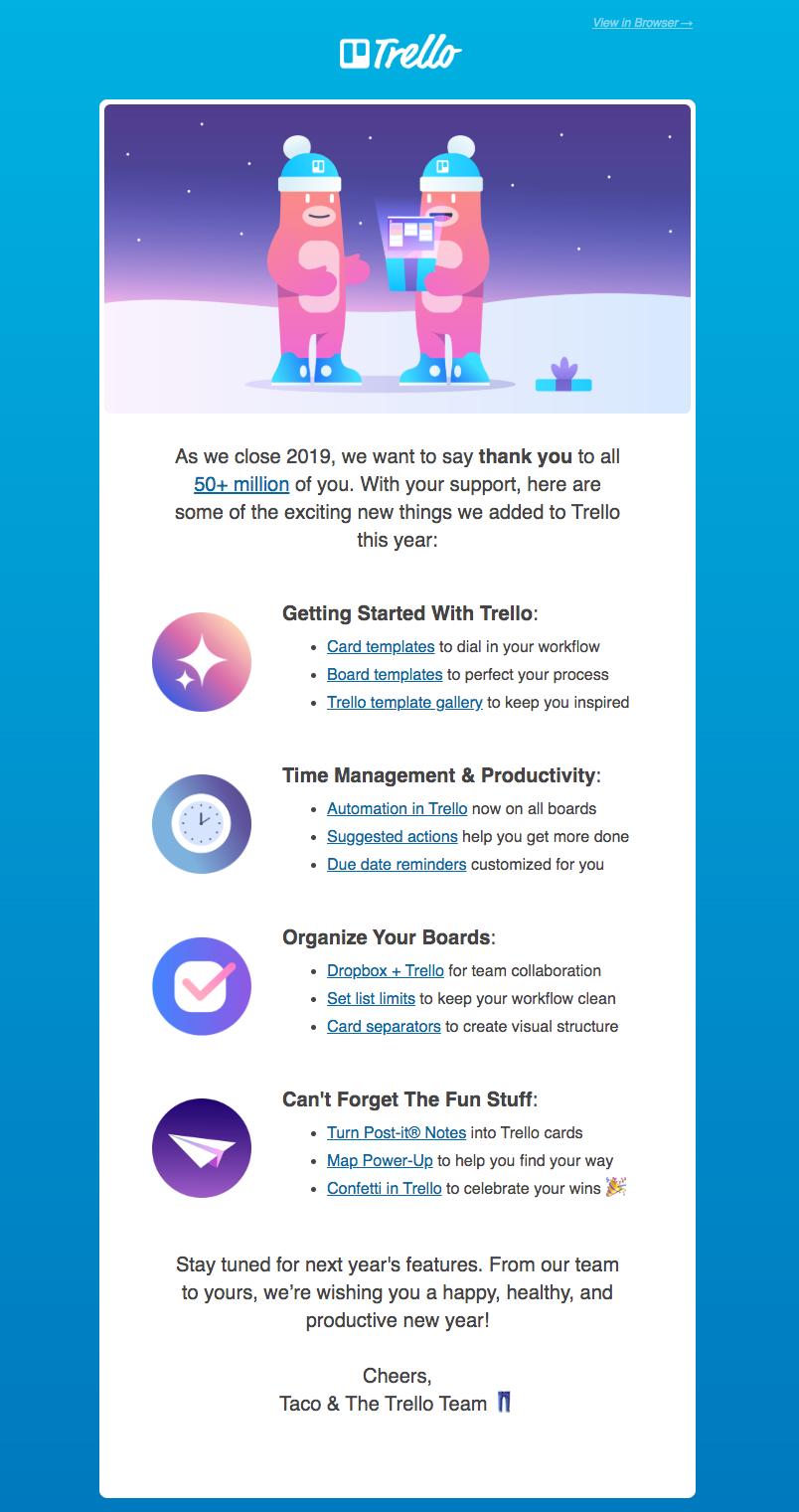 trello customer engagement email newsletter