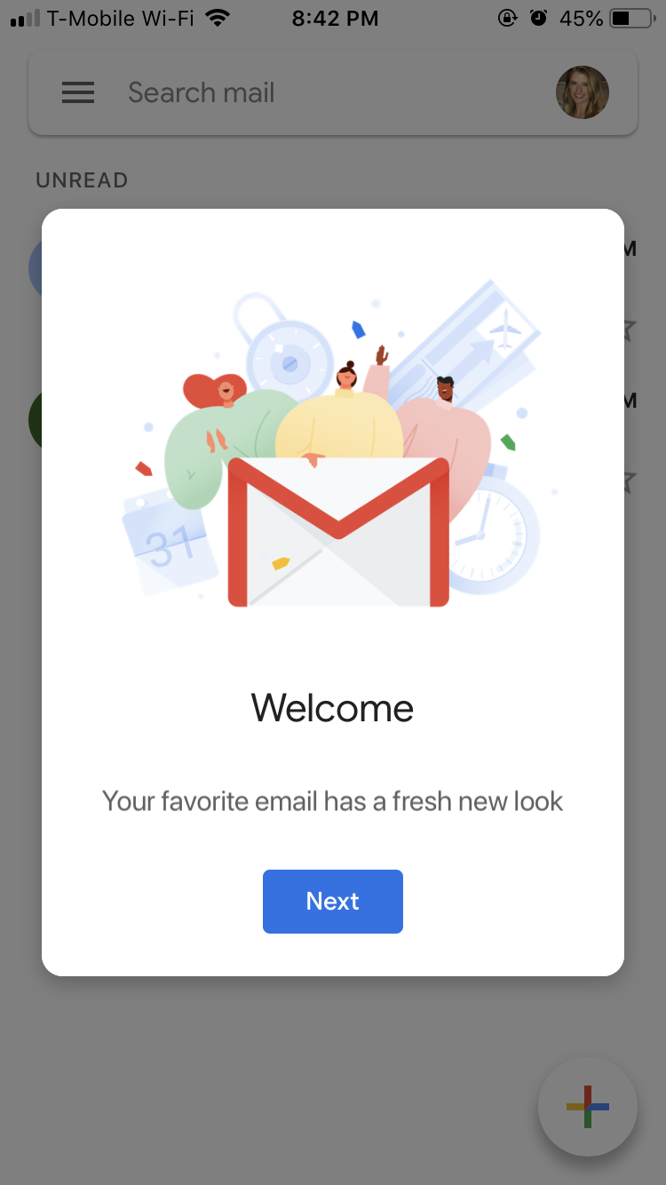gmail mobile app new look announcement welcome modal window