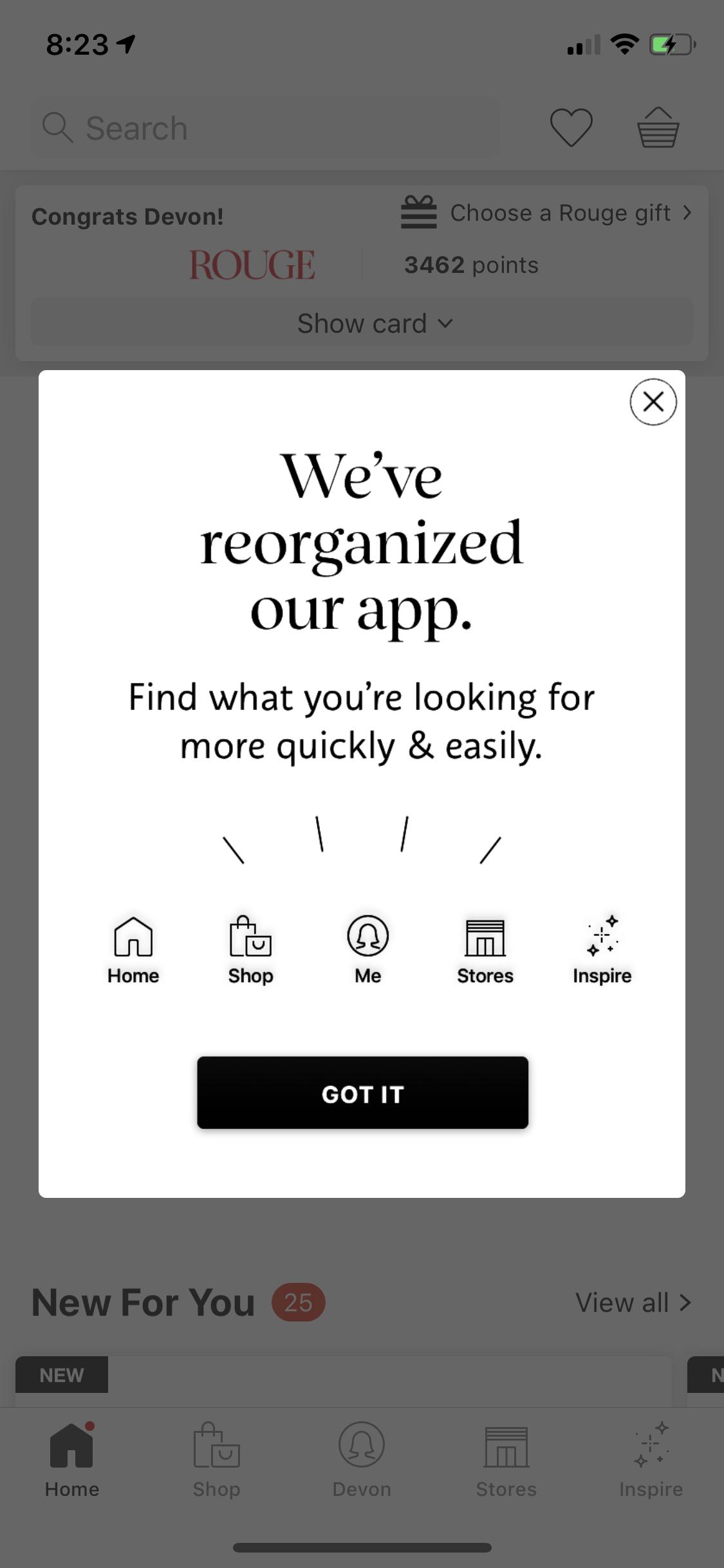 sephora mobile app redesign notification modal window design