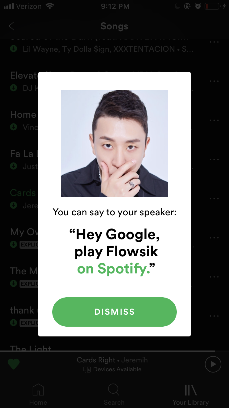 spotify google home pairing notification listen to flosik on smart home device