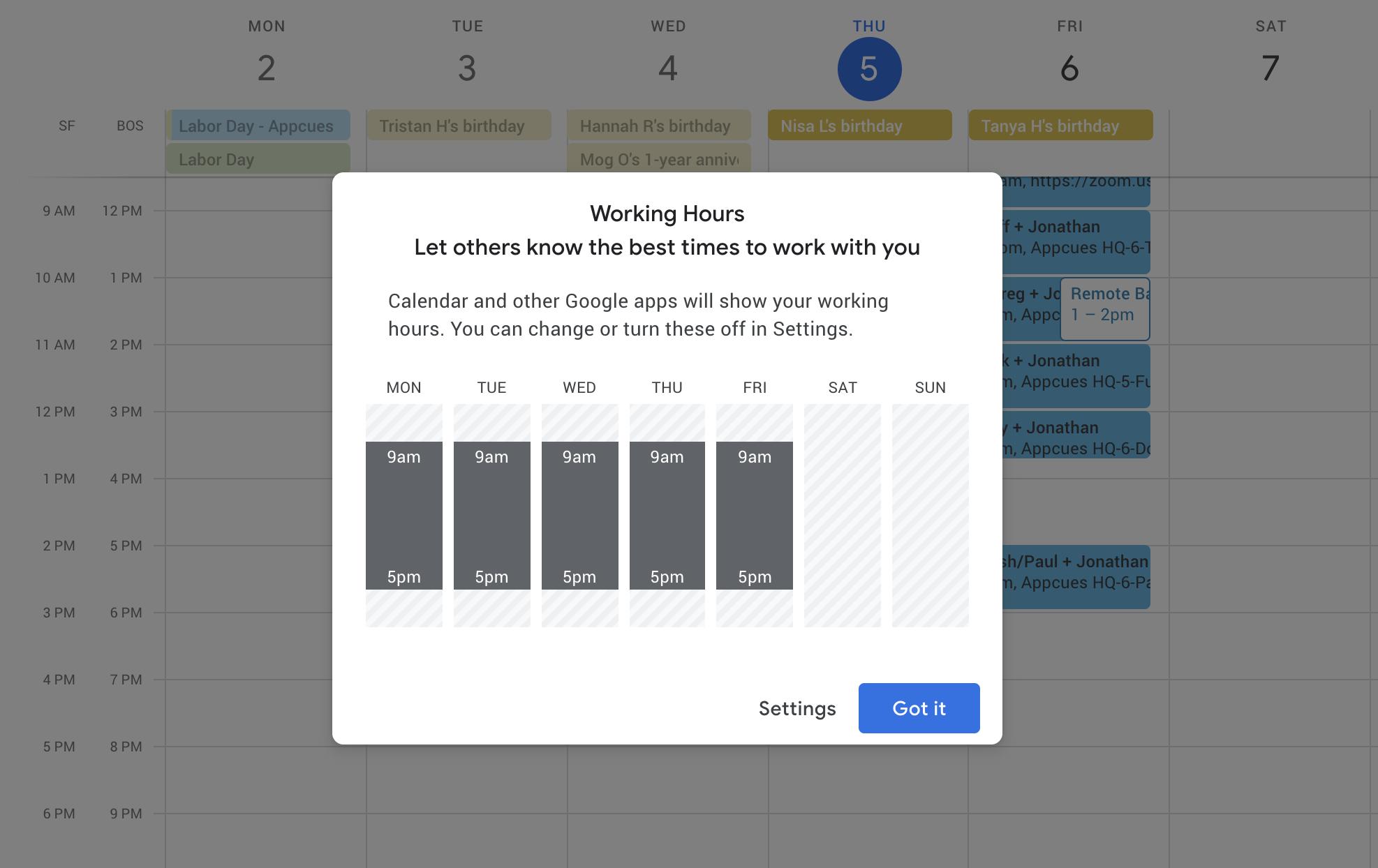 google calendar confirm working hours modal window