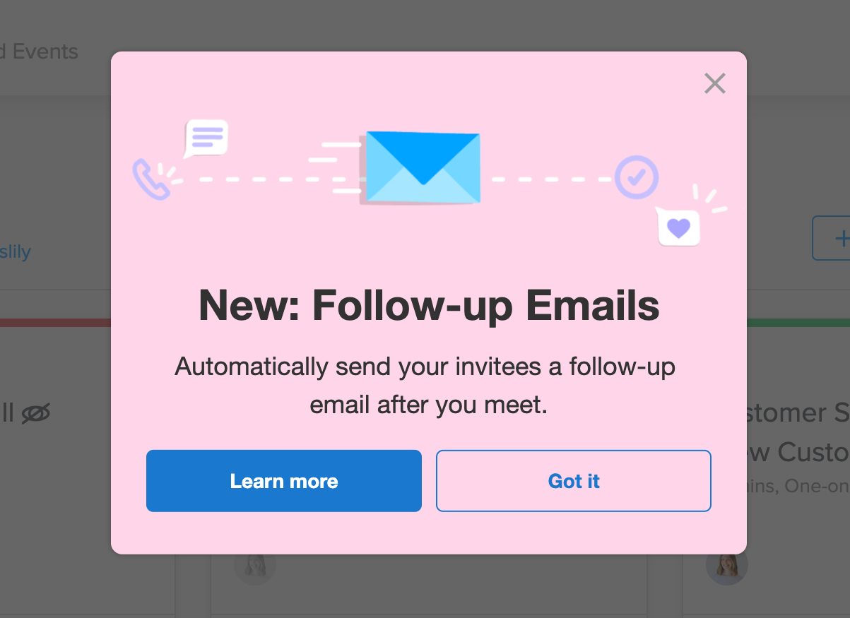 calendly new feature followup email annoucement pink modal window