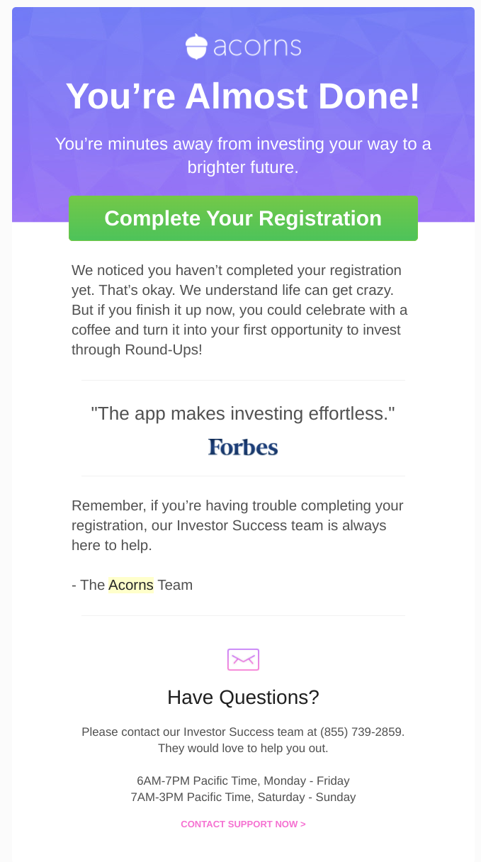 acorns mobile app complete your registration