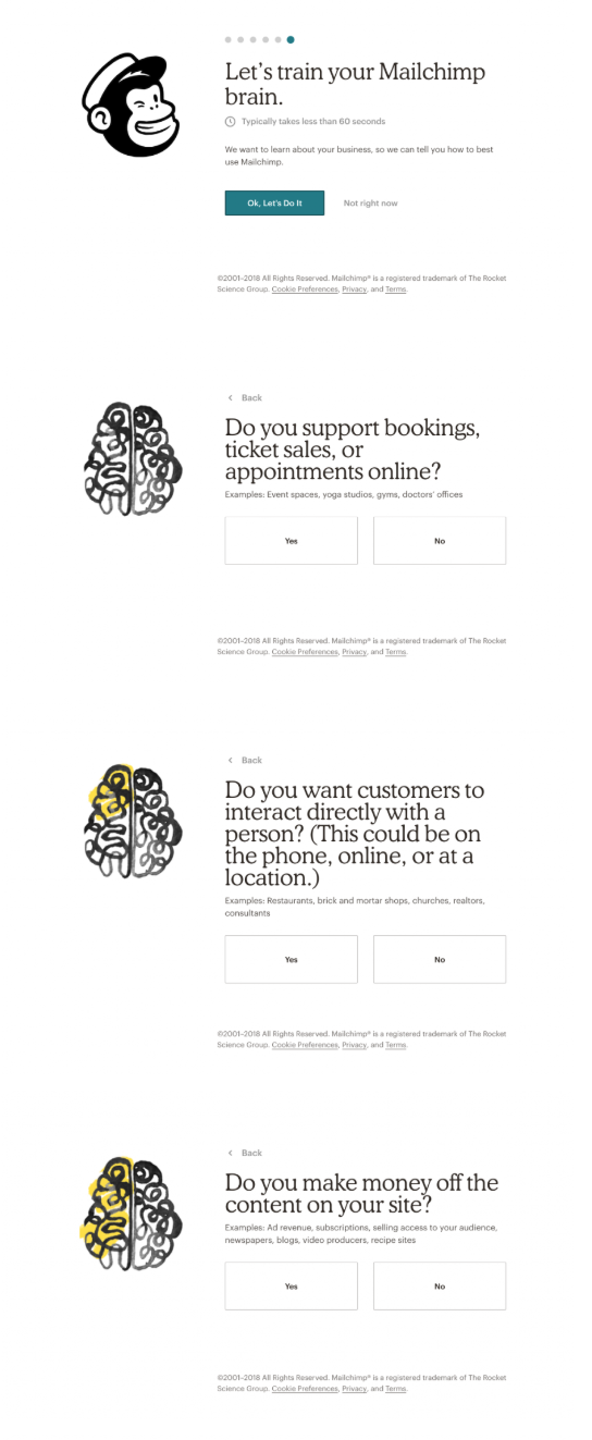mailchimp user onboarding personalization sequence