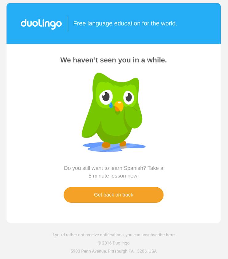 duolingo unengaged churned user email