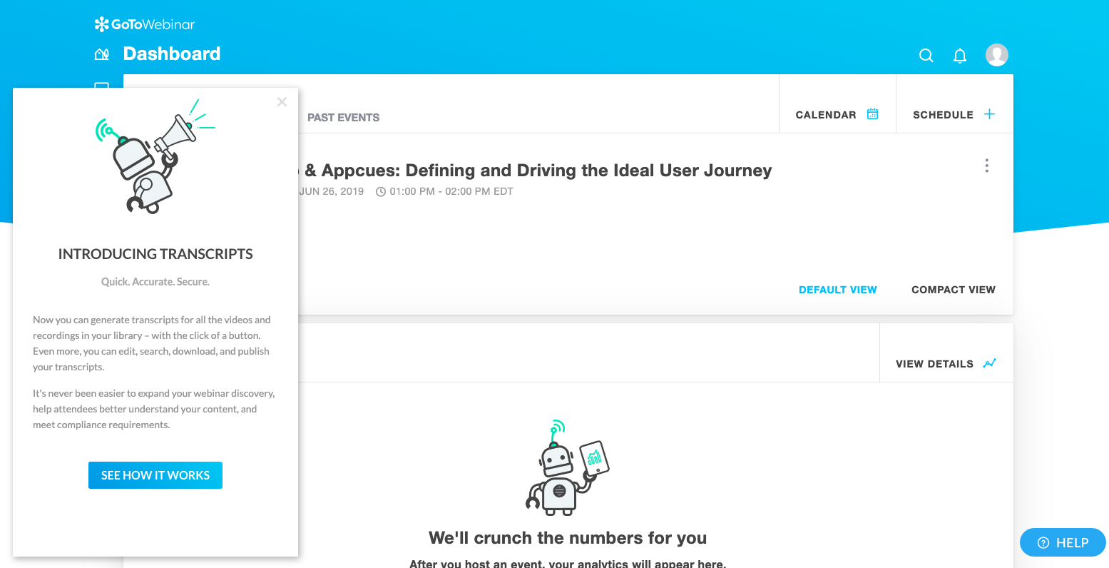 go to webinar in-app feature announcement made with appcues