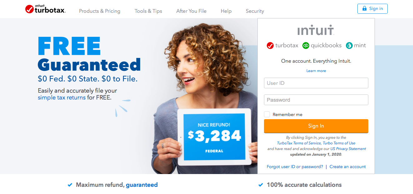 turbotax homepage marketing copy