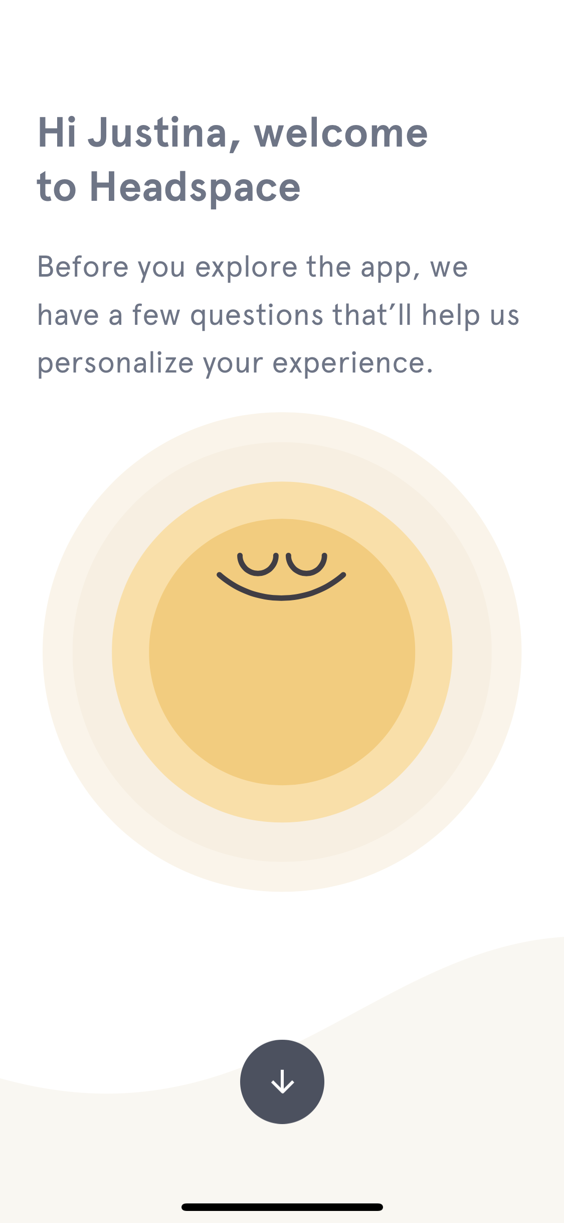 headspace mobile app welcome message personalization