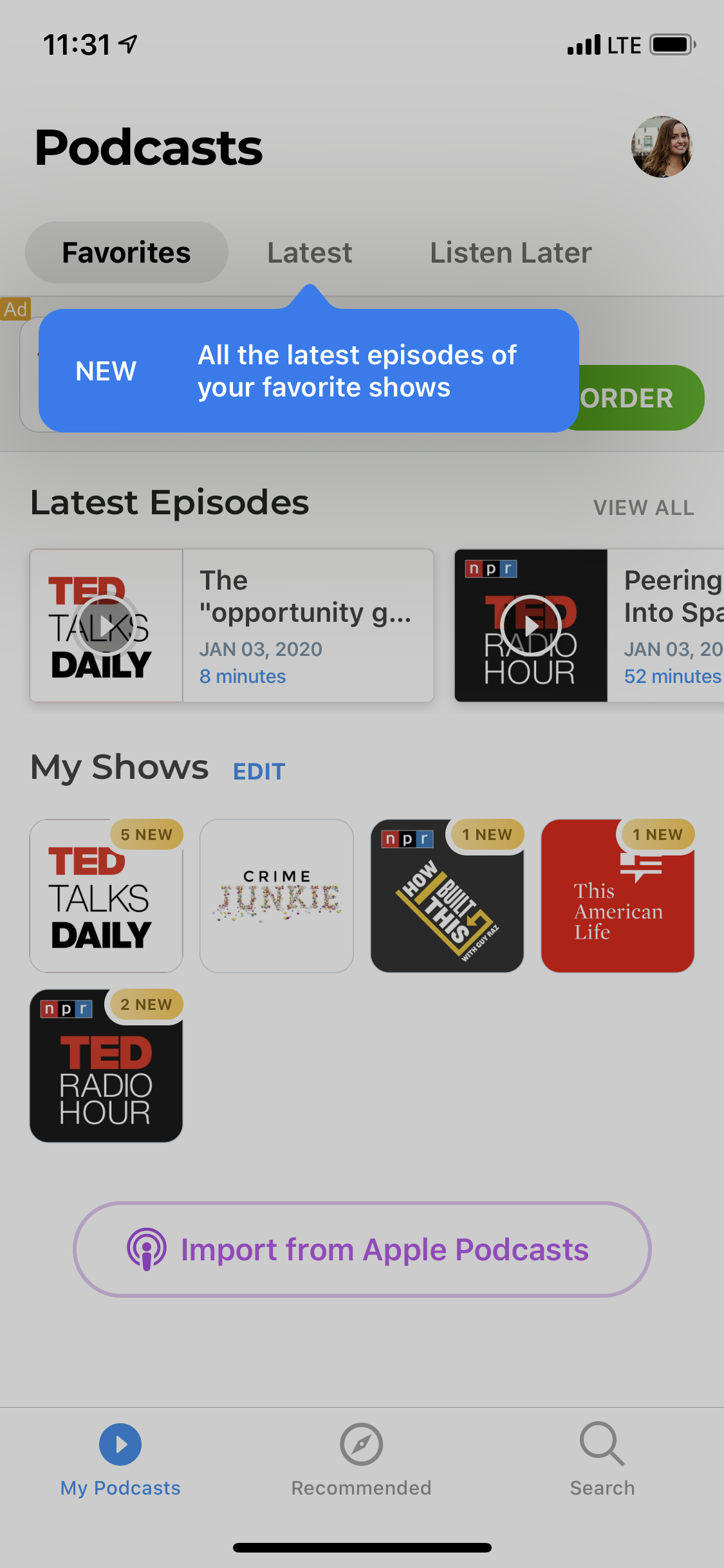 podcast app single tooltip new feature announcement