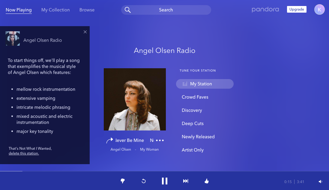 pandora radio thumbs up down rating system